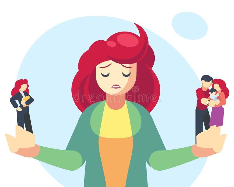 Donna che sceglie fra le responsabilità del genitore o della famiglia e la carriera o il successo professionale Scelta difficile, immagine stock libera da diritti