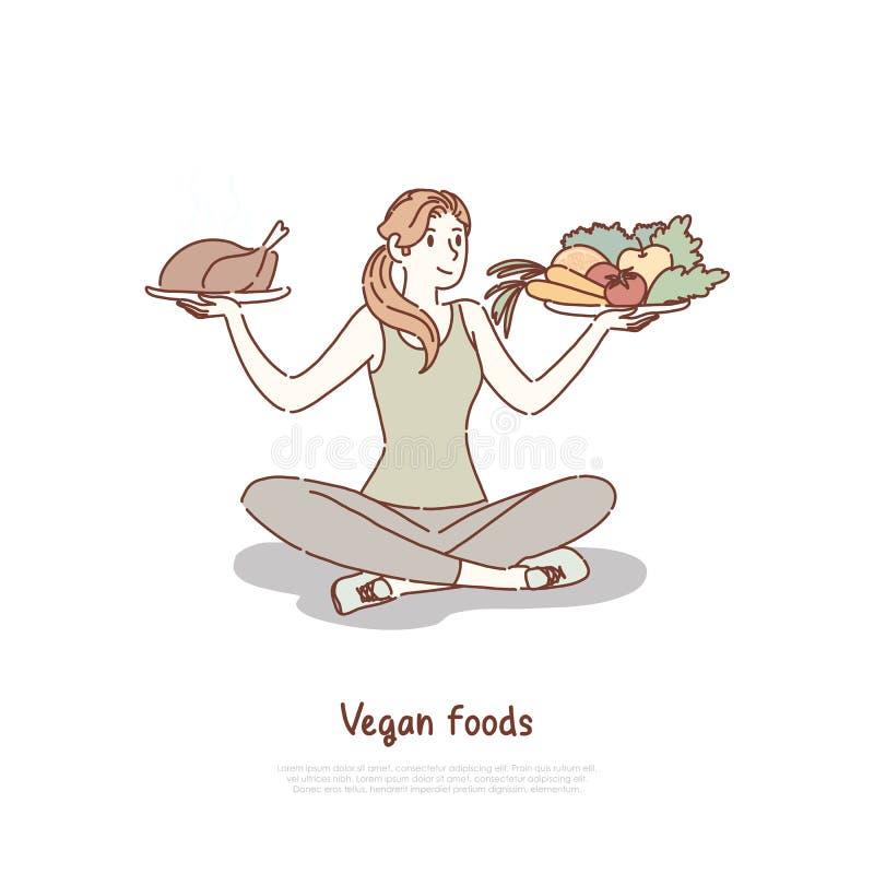 Donna che sceglie fra le verdure insalata ed il cibo sano e non sano degli alimenti industriali, verdure, insegna del pasto rapid illustrazione vettoriale