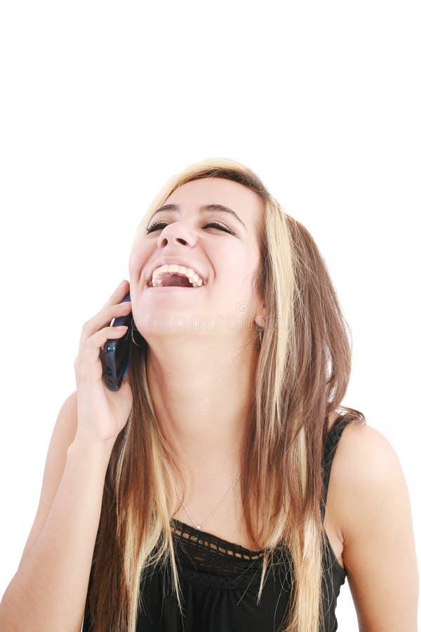 Donna che scoppia fuori risata immagini stock libere da diritti