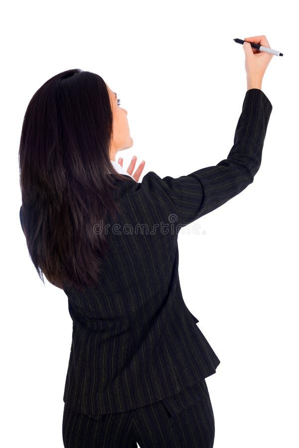 Donna che scrive o che attinge bordo virtuale immagine stock libera da diritti