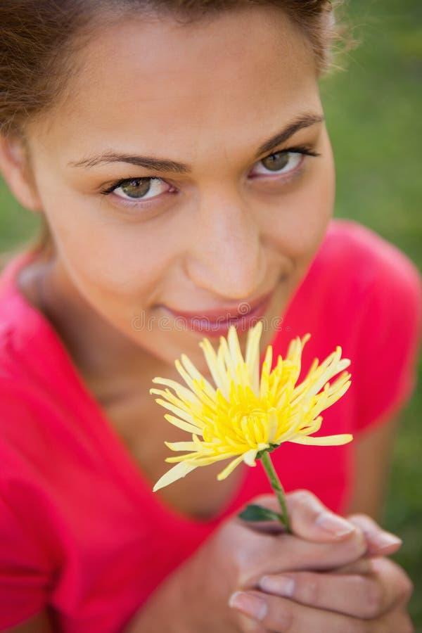 Donna che sembra ascendente mentre tenendo un fiore giallo fotografie stock