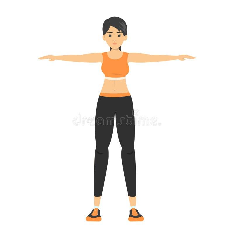 Donna che si allunga prima dell'allenamento Esercitazione del braccio illustrazione vettoriale