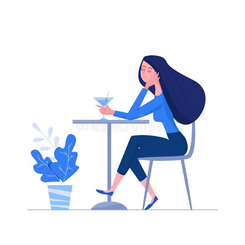 Donna che si siede alla tavola in caffè e che tiene il vetro di martini Godere dell'illustrazione del carattere femminile nello s illustrazione vettoriale