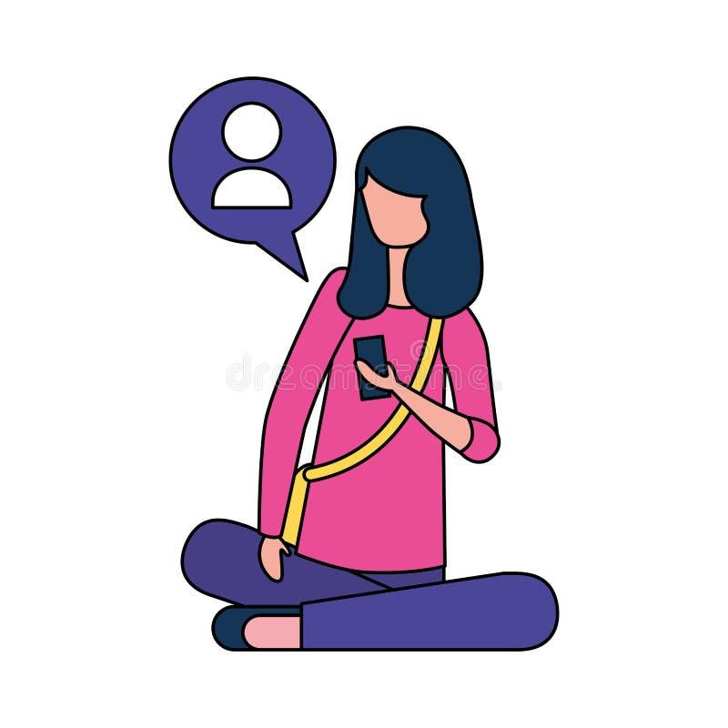 Donna che si siede facendo uso del dispositivo mobile illustrazione di stock