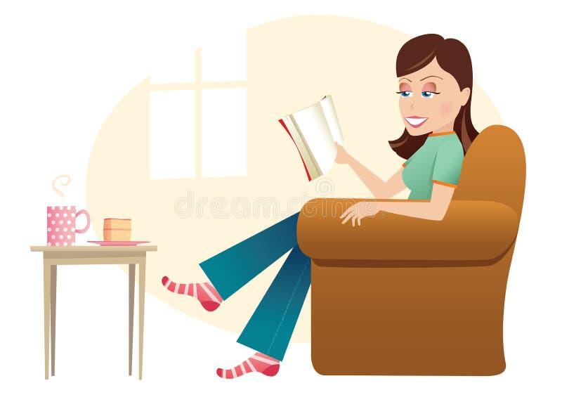 Donna che si siede nella lettura della presidenza illustrazione di stock