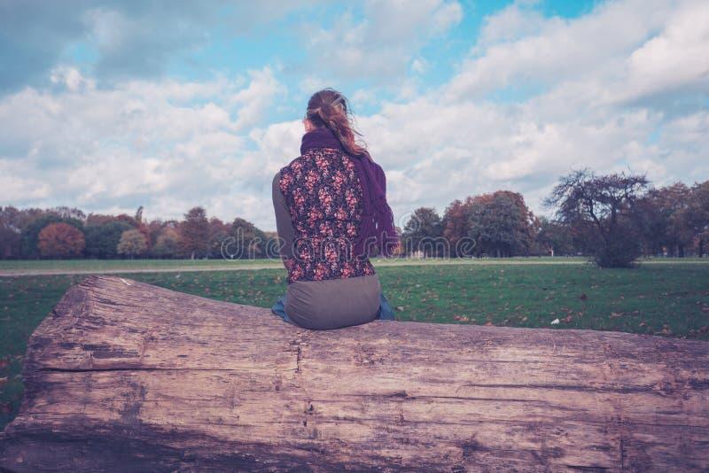 Donna che si siede su un albero caduto nel parco immagini stock libere da diritti