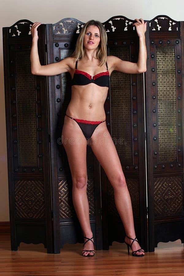 Download Donna Che Si Siede In Sua Biancheria Immagine Stock - Immagine di bellezza, semi: 217149