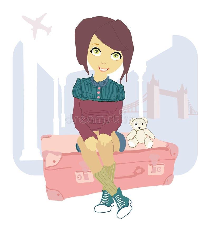 Donna che si siede sulla valigia illustrazione di stock
