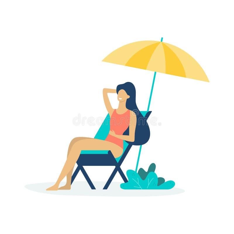 Donna che si siede sulle chaise longue sotto il sole illustrazione vettoriale