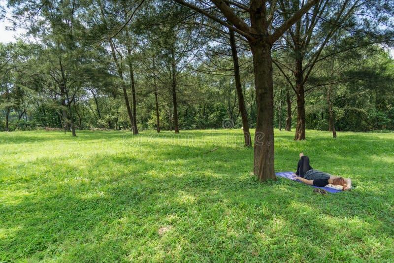 Donna che si trova giù sull'erba fotografia stock libera da diritti