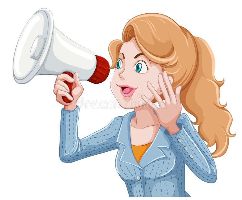 Donna che speeking nel megafono illustrazione di stock