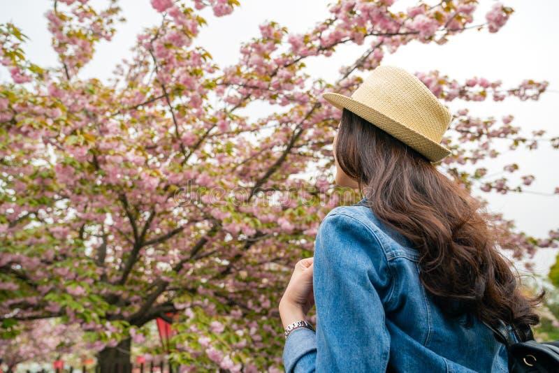 Donna che sta davanti alla ciliegia del fiore fotografia stock