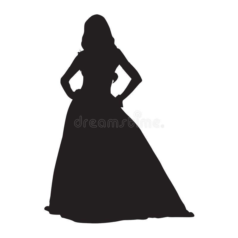 Donna che sta in vestito elegante lungo illustrazione di stock