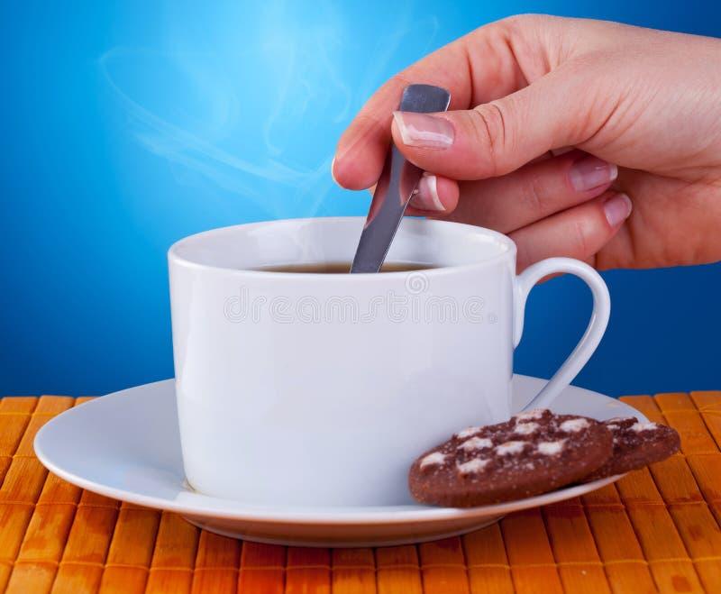 Donna che stiring in una tazza di caffè fresca immagine stock