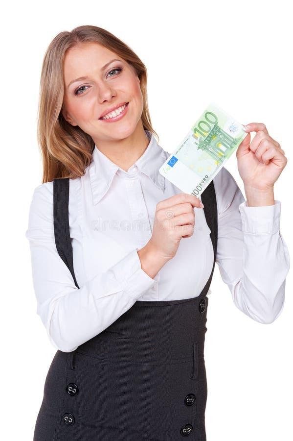Donna Che Tiene Cento Euro Fotografia Stock Libera da Diritti