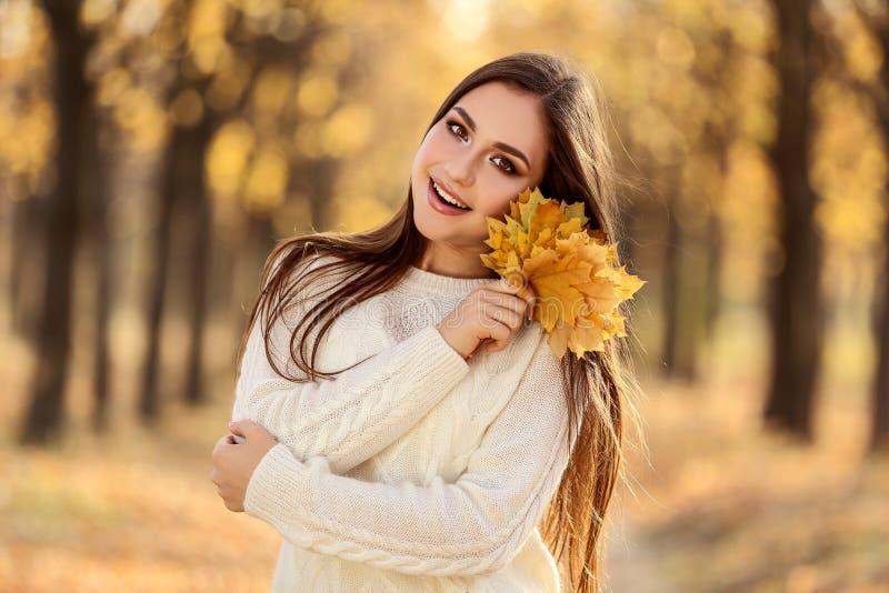 Donna che tiene le foglie di acero asciutte fotografia stock libera da diritti