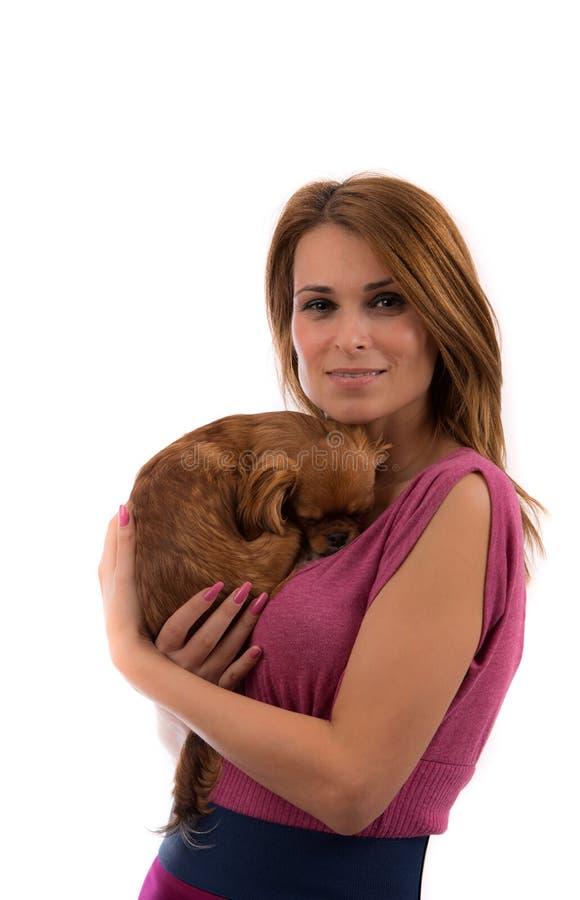 Donna che tiene piccolo cane sulle sue mani immagine stock