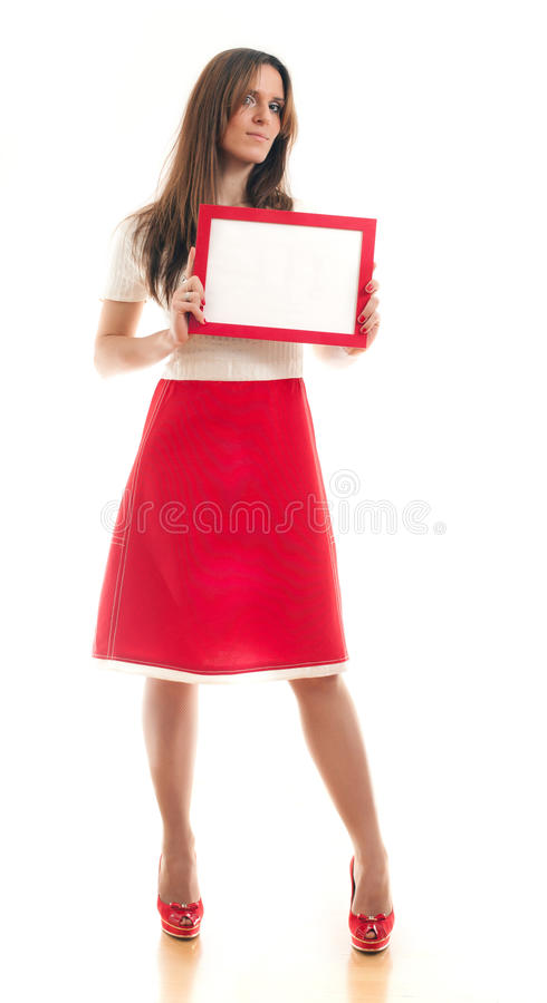 Donna che tiene segno in bianco fotografia stock libera da diritti