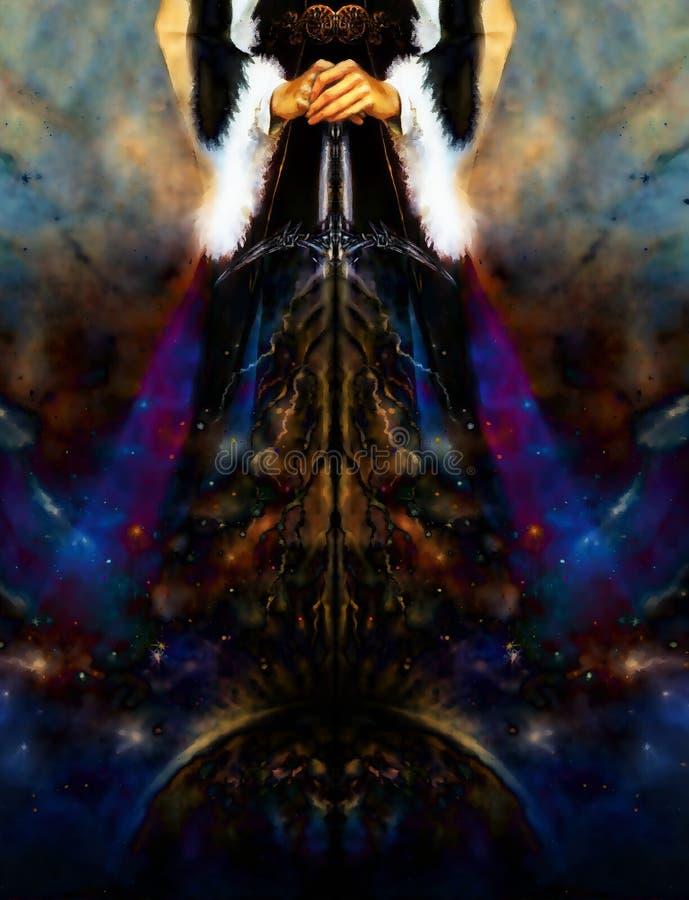 Donna che tiene spada leggera cosmica con i fulmini che scendono sulla terra, con la cinghia ornamentale ed il vestito medievale fotografia stock libera da diritti