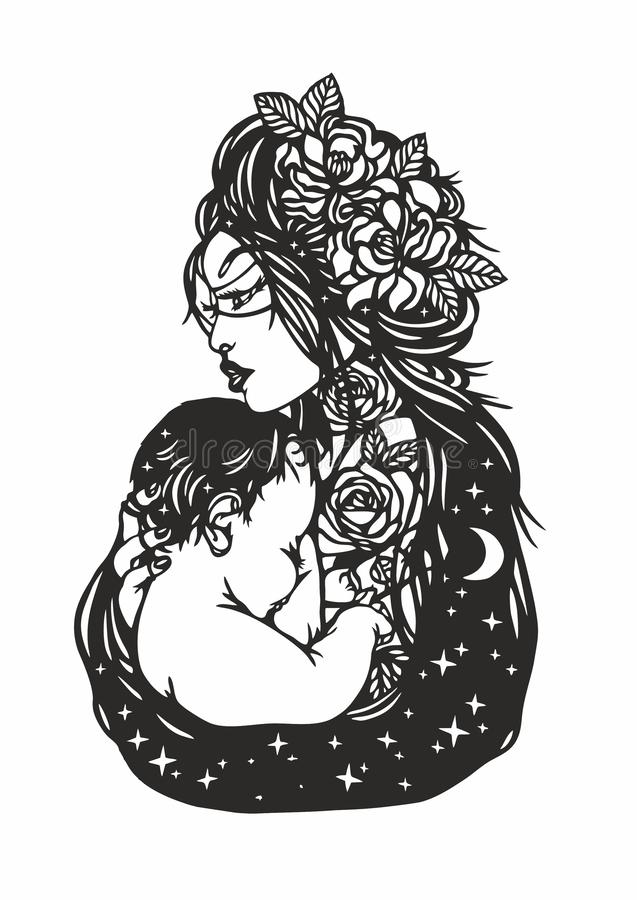 Donna che tiene un bambino Lipart del ¡ di Ð Giorno di madri illustrazione vettoriale