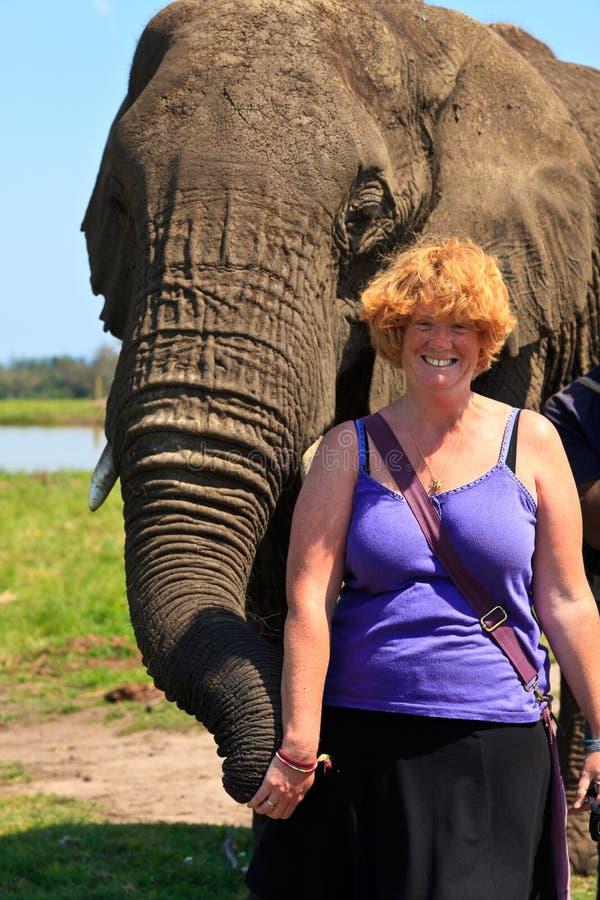Donna che tiene un elefante fotografia stock