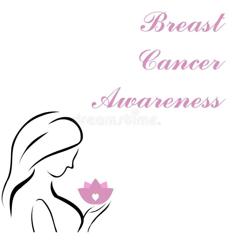 Donna che tiene un loto rosa che è un simbolo di consapevolezza del cancro al seno illustrazione vettoriale