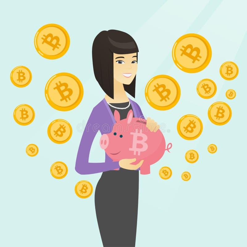Donna che tiene un porcellino salvadanaio con un segno del bitcoin royalty illustrazione gratis