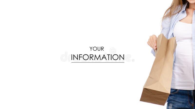 Donna che tiene una presa dell'alimento del pacchetto del sacco di carta ed andare modello immagini stock libere da diritti