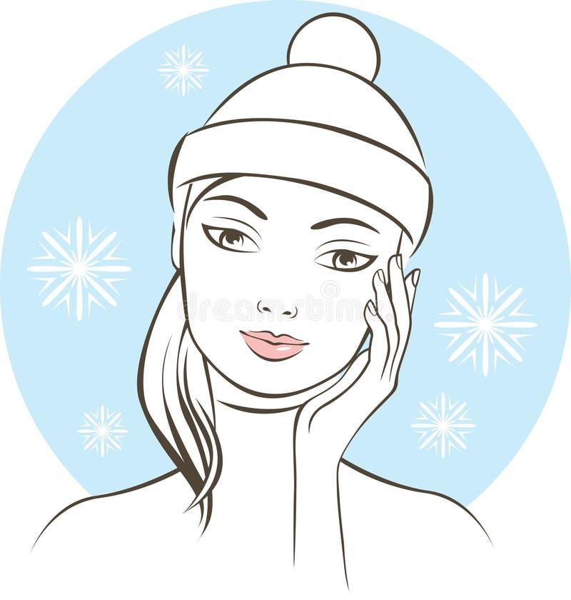 Donna che tocca il suo concetto di trattamento della pelle di inverno del fronte illustrazione vettoriale