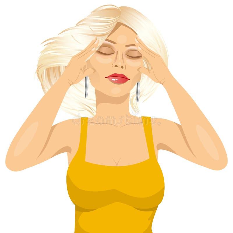 Donna che tocca le sue tempie che soffrono un'emicrania royalty illustrazione gratis