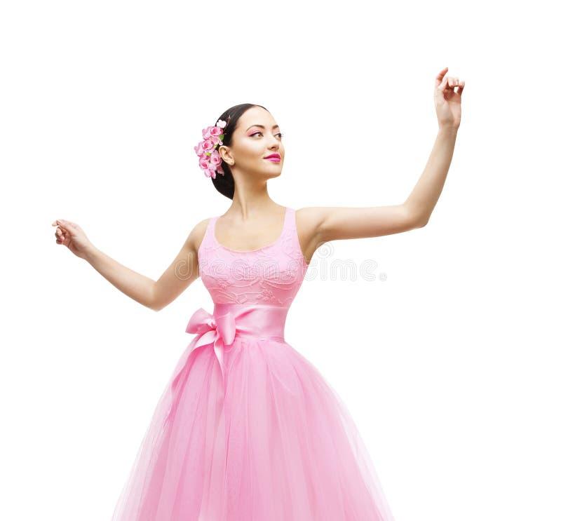 Donna che tocca in vestito rosa, modello di moda High Waist Gown fotografie stock