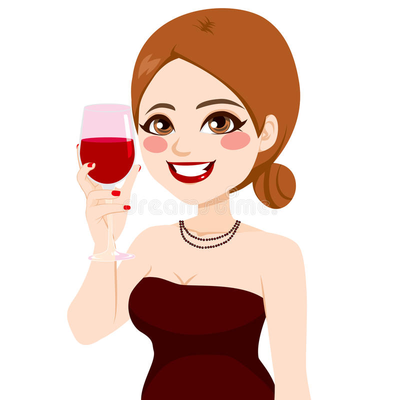 Donna che tosta vino royalty illustrazione gratis
