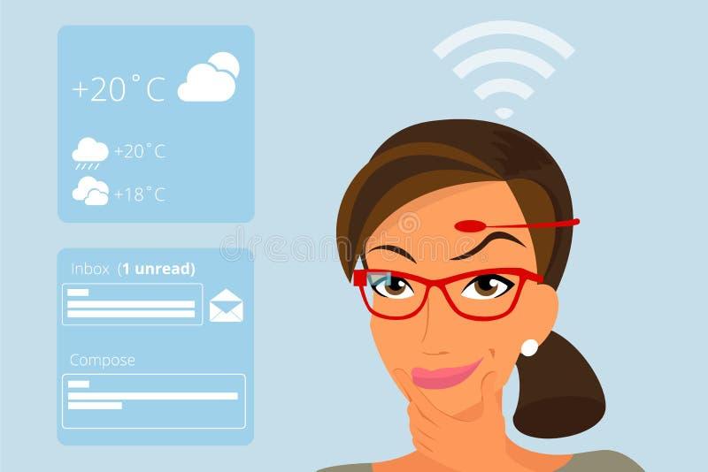 Donna che usando le tecnologie di hardware testa-montate illustrazione di stock