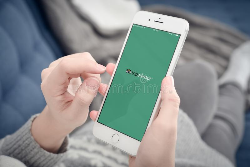 Donna che usando Tripadvisor app sul iPhone 8 di Apple più fotografia stock libera da diritti