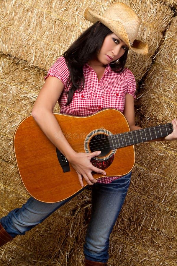 Donna cinese della chitarra fotografia stock libera da diritti