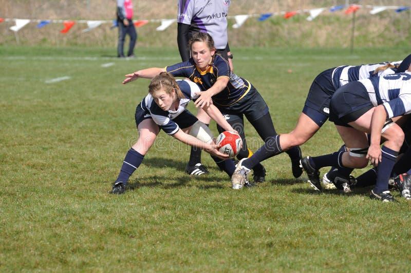 Donna circa per passare sfera dopo una mischia di rugby fotografie stock libere da diritti