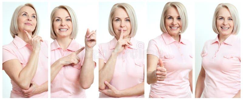 Donna in collage differente di situazioni Belle donne di affari di mezza età nella gioia, serio, mostrare, sorpresa immagini stock libere da diritti