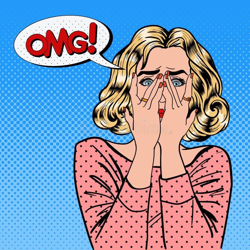Donna colpita La donna chiude gli occhi con le sue mani Pop art illustrazione di stock