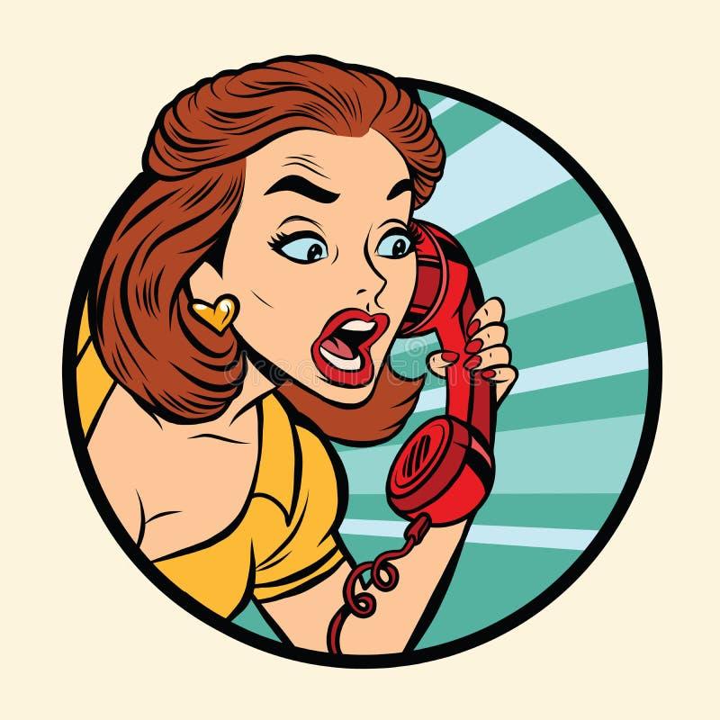 Donna comica che parla sul retro telefono royalty illustrazione gratis