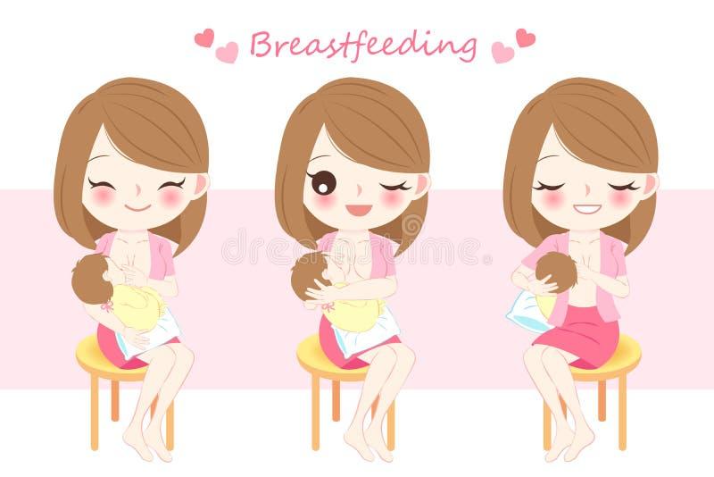 Donna con allattamento al seno illustrazione vettoriale