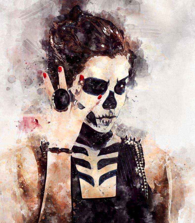 Donna con arte di scheletro del fronte illustrazione di stock