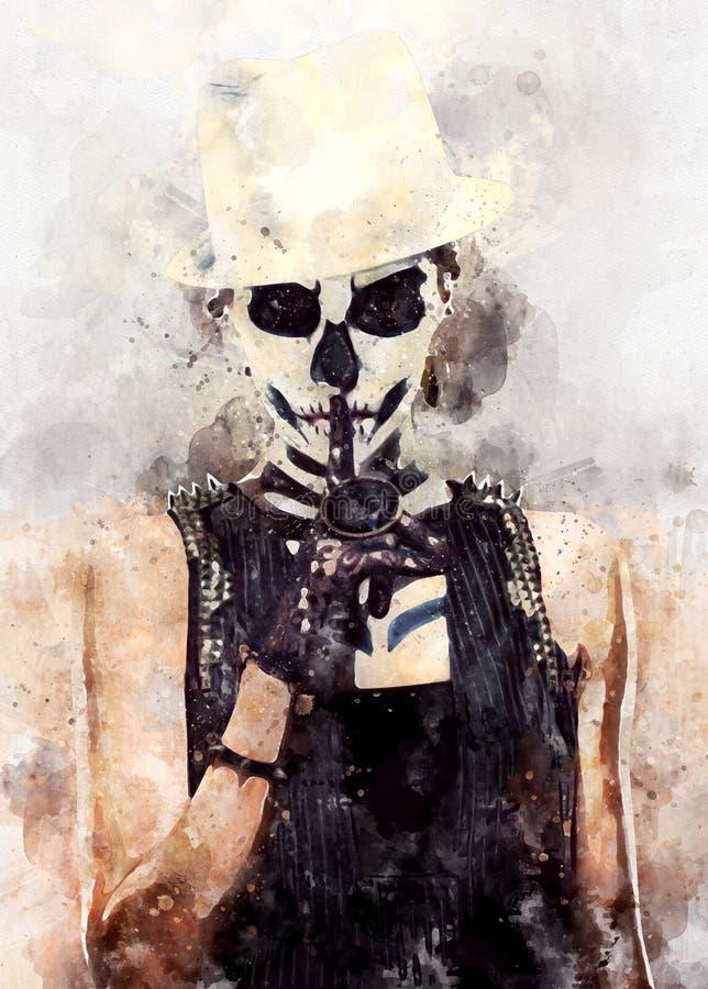 Donna con arte di scheletro del fronte illustrazione vettoriale