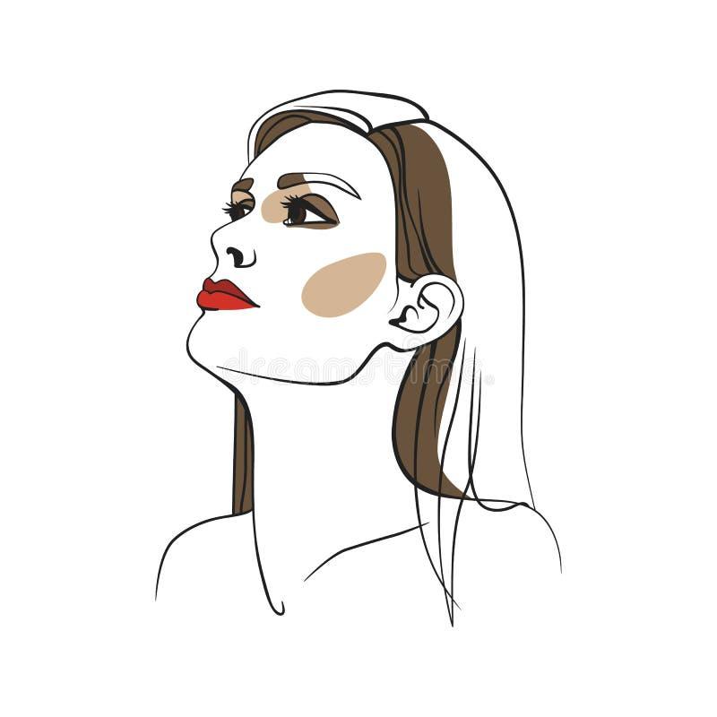 Donna con capelli lunghi e rossetto rosso Fronte astratto Illustrazione di modo Illustrazione di vettore fotografie stock