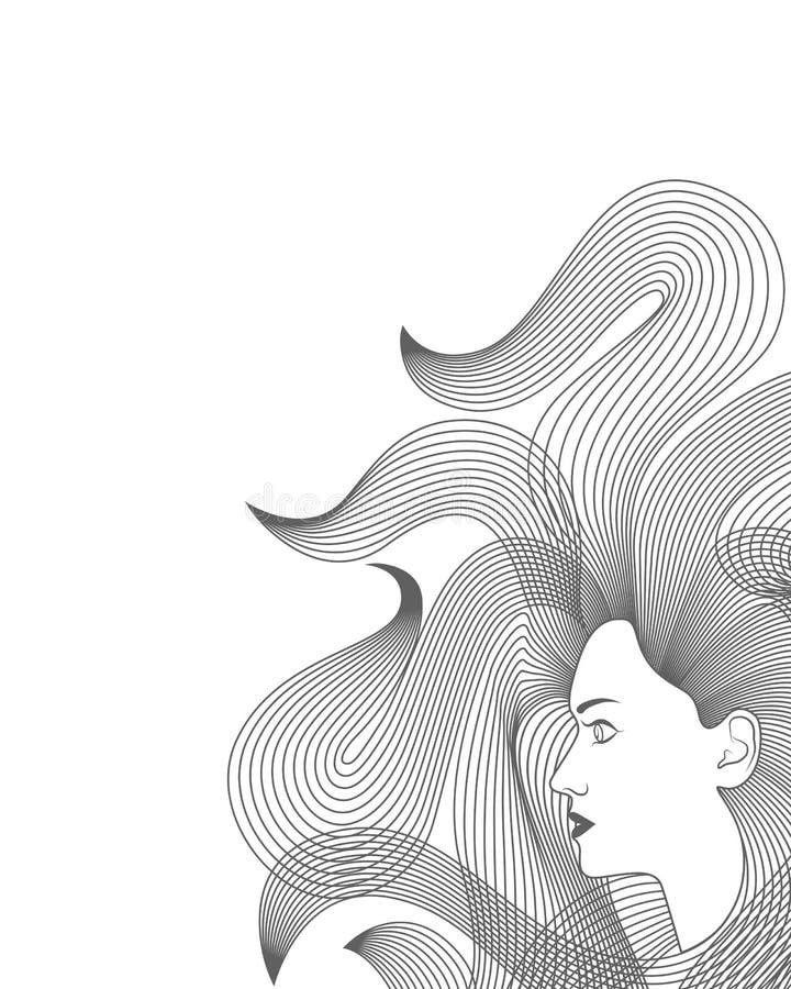 Donna con capelli lunghi Fondo illustrazione di stock