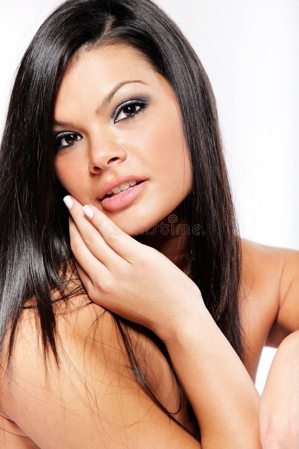 Donna Con Capelli Neri Lunghi. Immagine Stock - Immagine ...