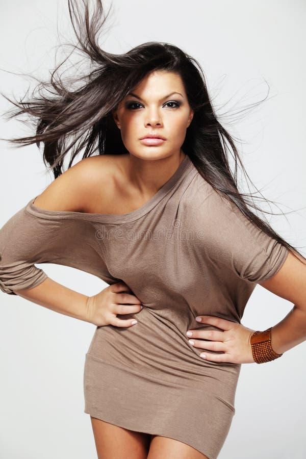 Donna Con Capelli Neri Lunghi. Fotografia Stock - Immagine ...