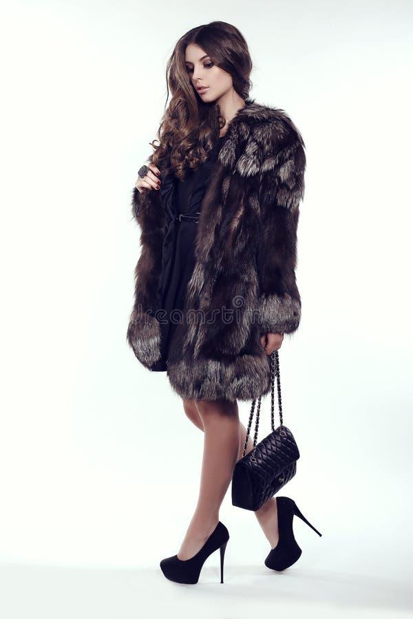 Donna con capelli scuri in pelliccia lussuosa, borsa elegante e scarpe fotografia stock libera da diritti