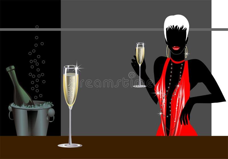 Donna con champagne royalty illustrazione gratis