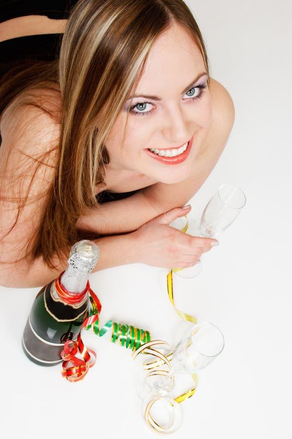 Donna con champagne fotografia stock libera da diritti
