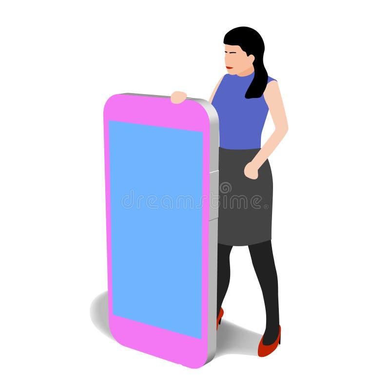 Donna con clipart isolato grande telefono illustrazione di stock